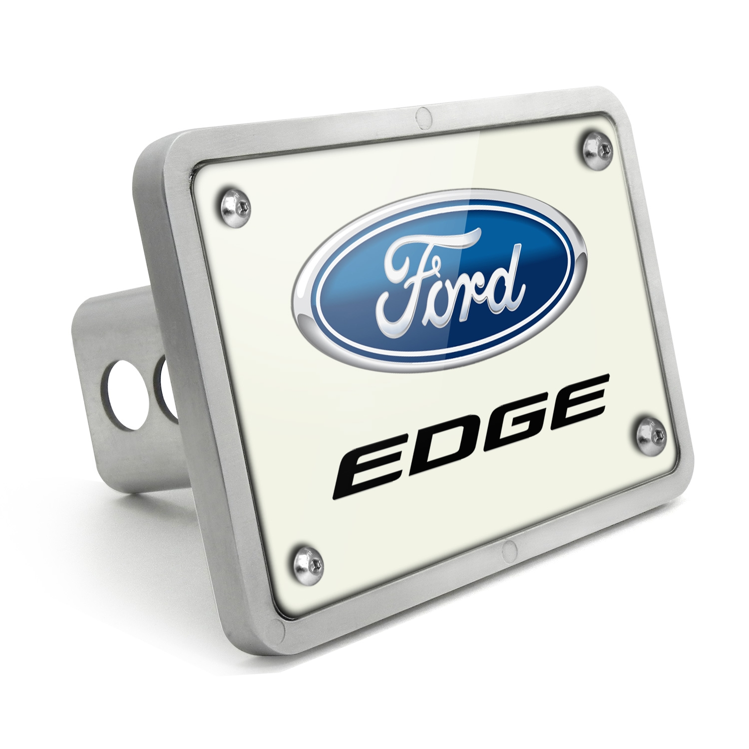 Ford Edge UV Graphic White Plate Billet Aluminum 2 inch Tow Hitch Cover