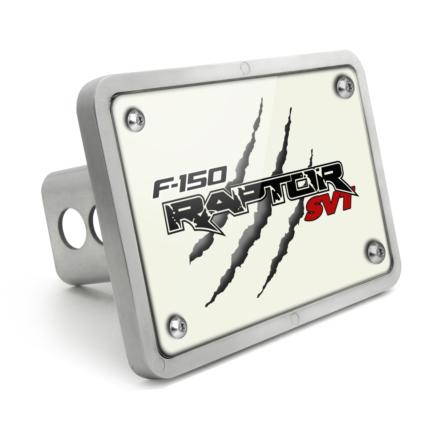 Ford Raptor SVT Claw Marks UV Graphic White Plate Billet Aluminum 2 inch Tow Hitch Cover
