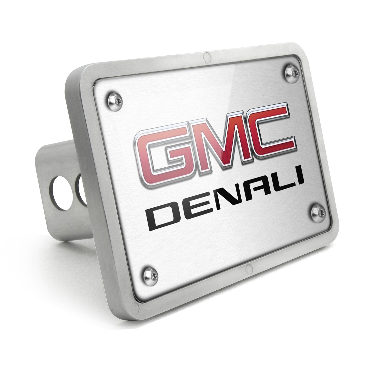 GMC Denali UV Graphic Brushed Silver Billet Aluminum 2 inch Tow Hitch Cover