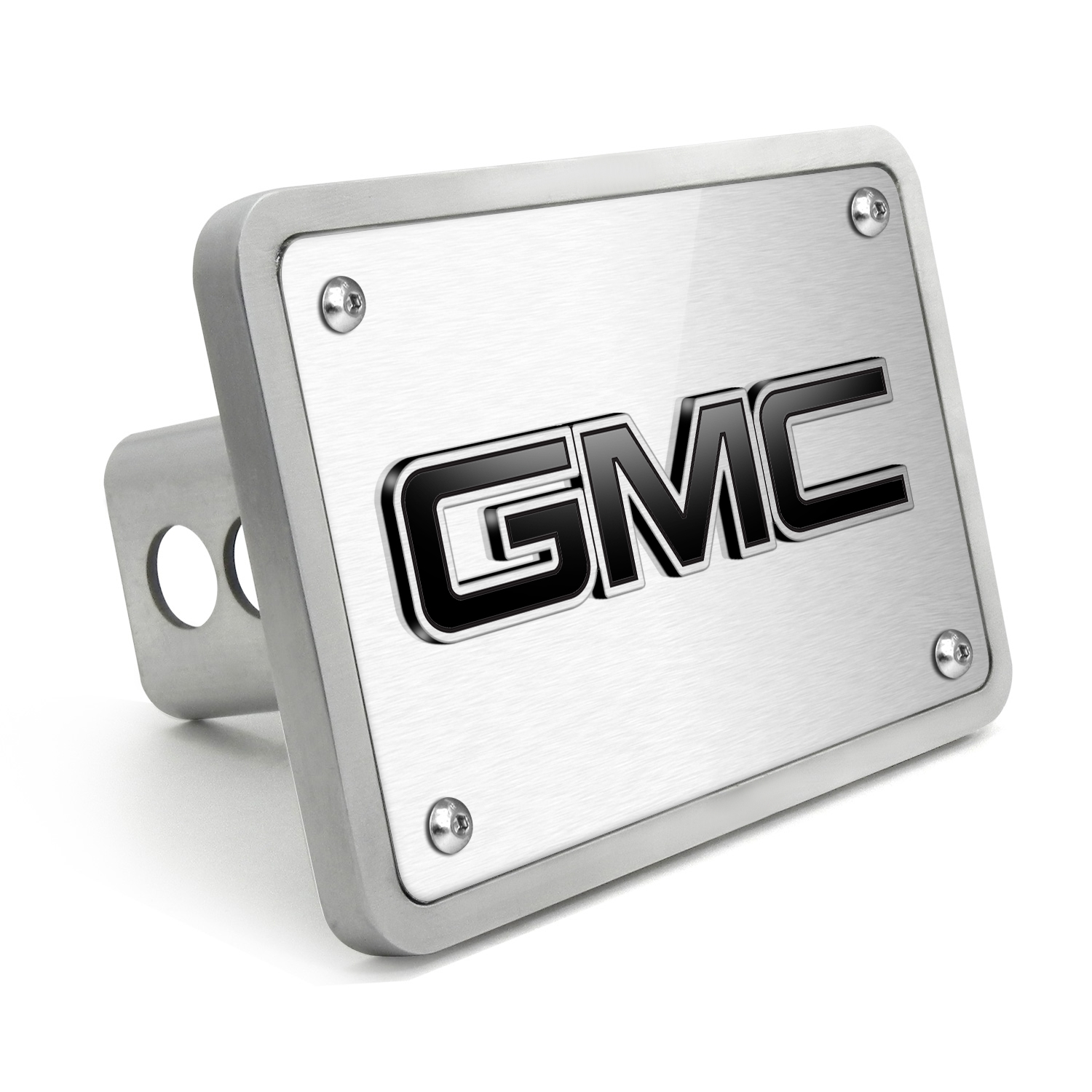 GMC 3D Logo in Black Inlay Brush Billet Aluminum 2 inch Tow Hitch Cover