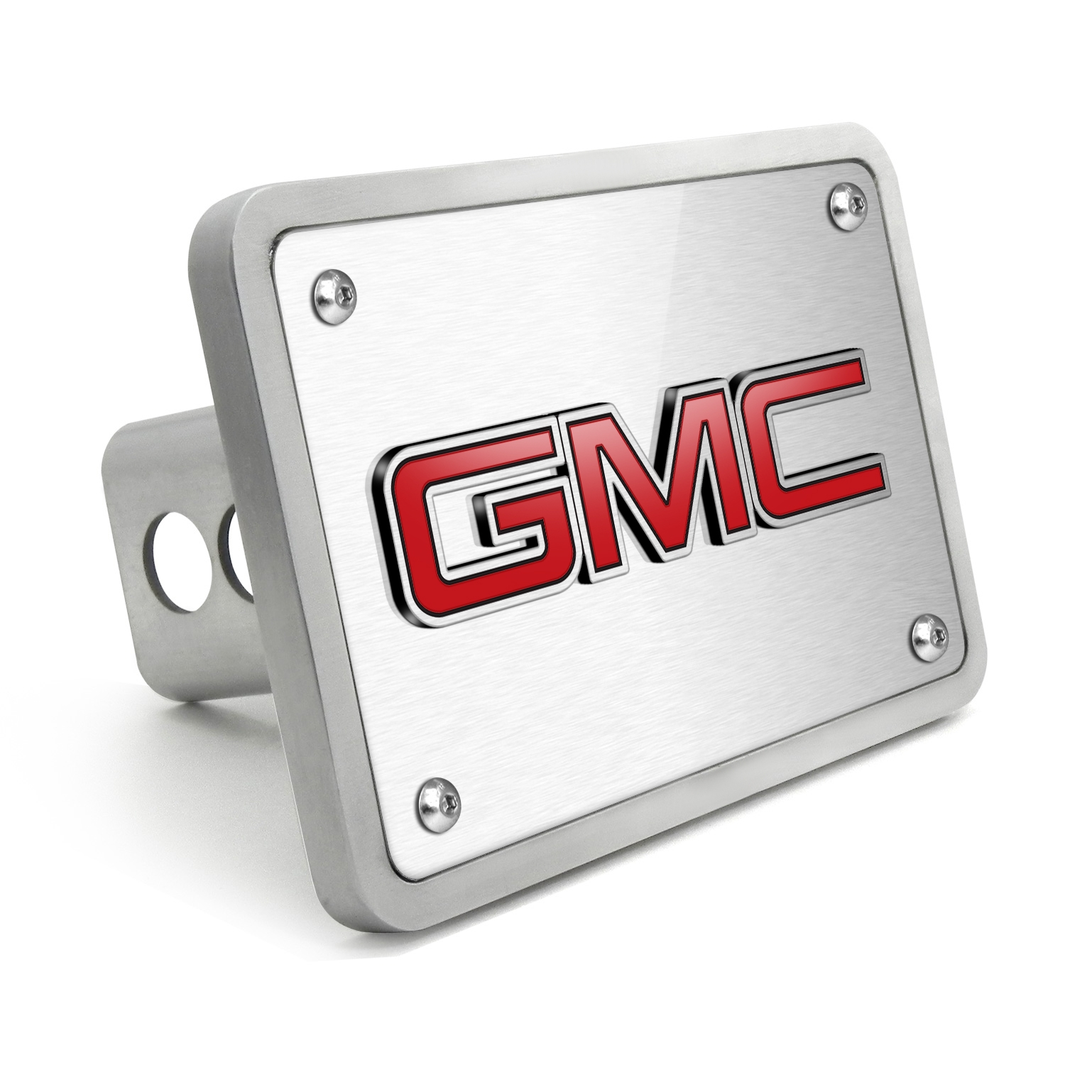 GMC 3D Logo in Red Inlay Brush Billet Aluminum 2 inch Tow Hitch Cover