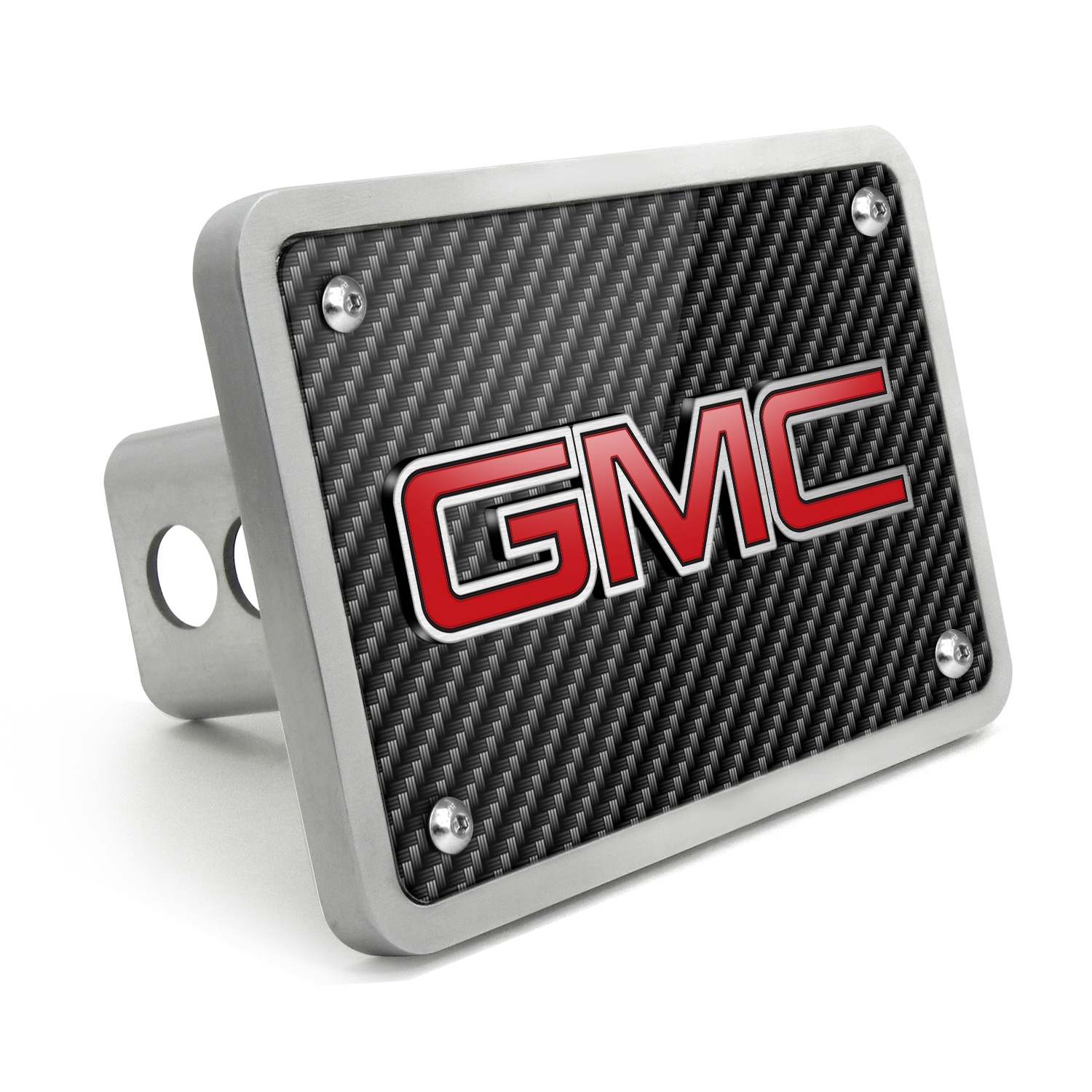 GMC 3D Logo in Red Inlay Carbon Fiber Texture Billet Aluminum 2 inch Tow Hitch Cover