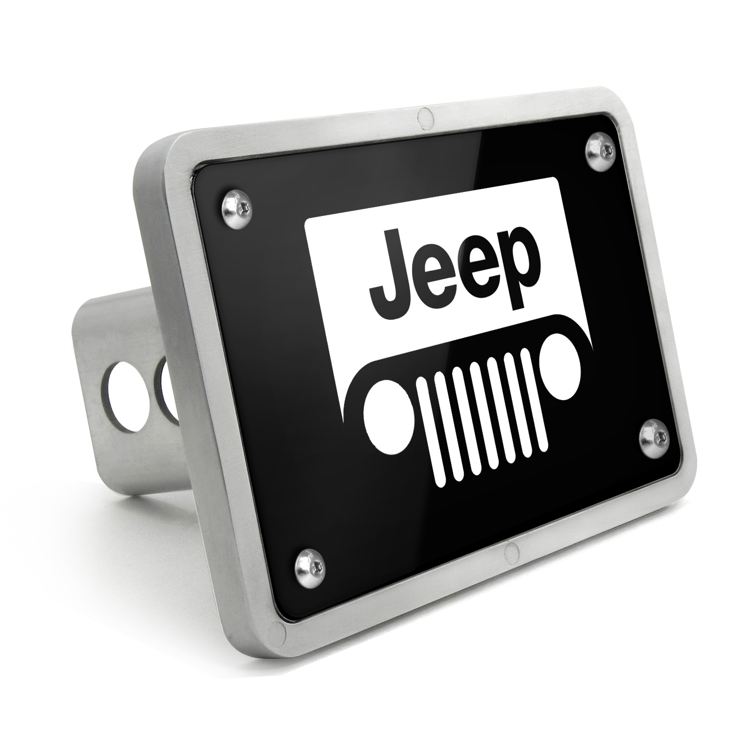 Jeep Grill UV Graphic Black Billet Aluminum 2 inch Tow Hitch Cover