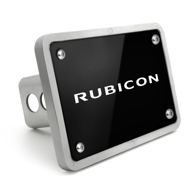 Jeep Rubicon UV Graphic Black Billet Aluminum 2 inch Tow Hitch Cover
