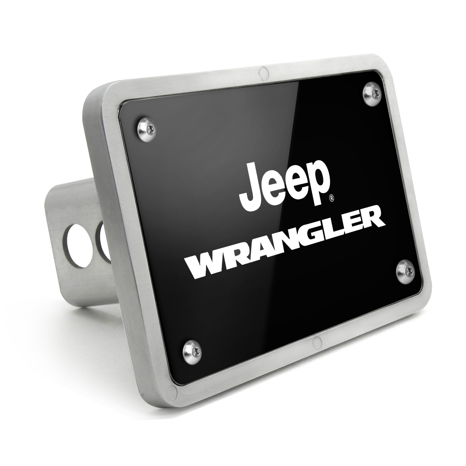 Jeep Wrangler UV Graphic Black Billet Aluminum 2 inch Tow Hitch Cover