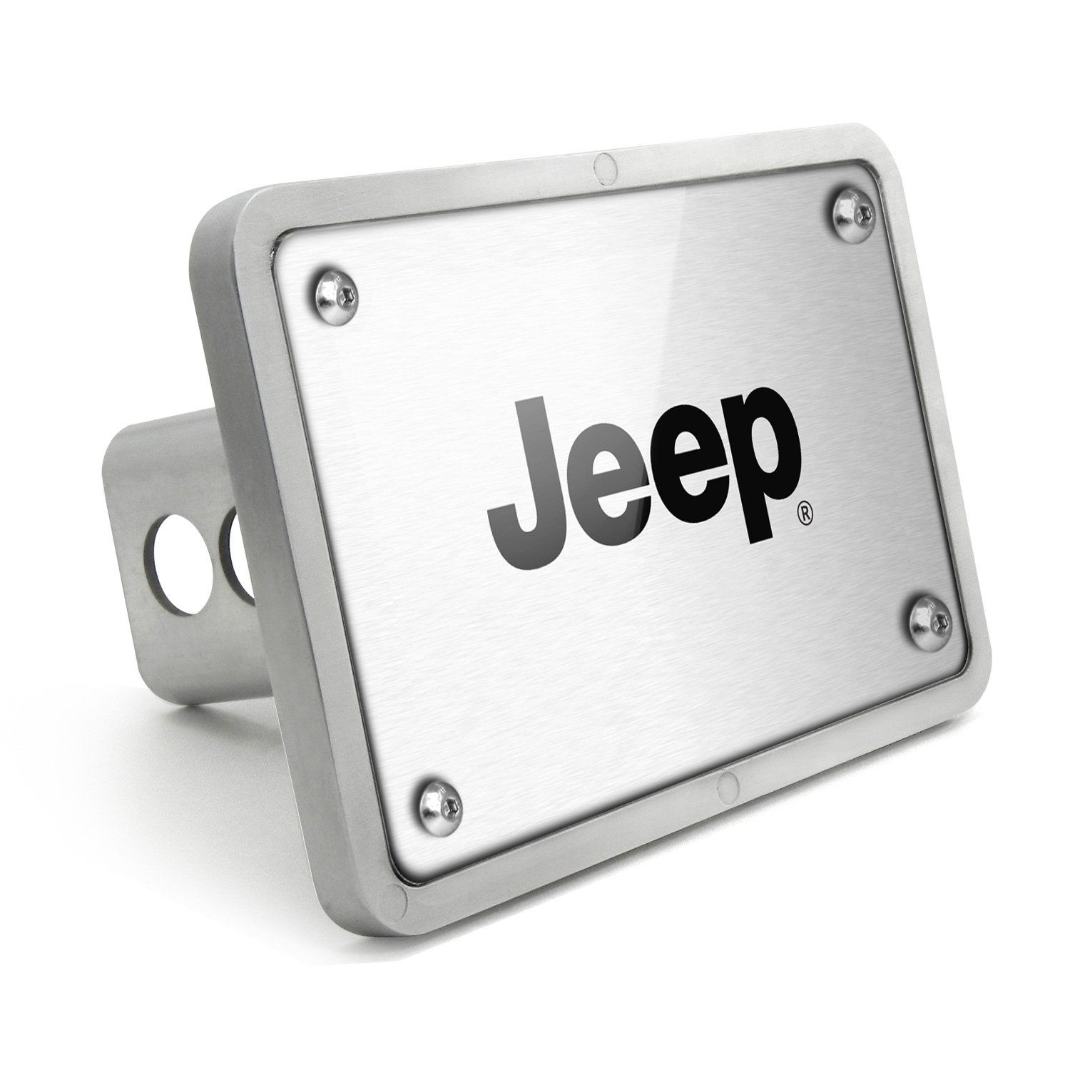 Jeep UV Graphic Brushed Silver Billet Aluminum 2 inch Tow Hitch Cover