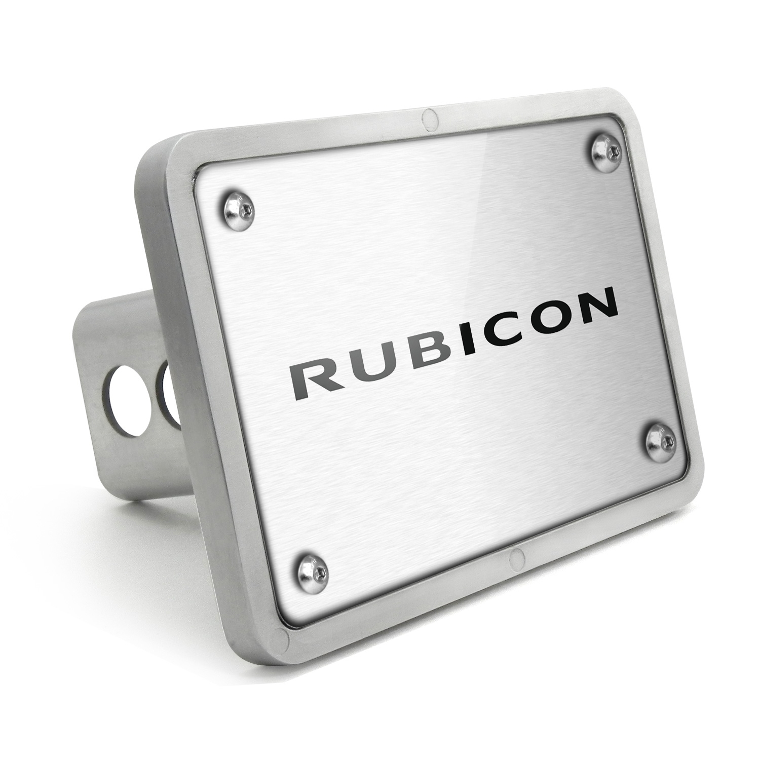 Jeep Rubicon UV Graphic Brushed Silver Billet Aluminum 2 inch Tow Hitch Cover