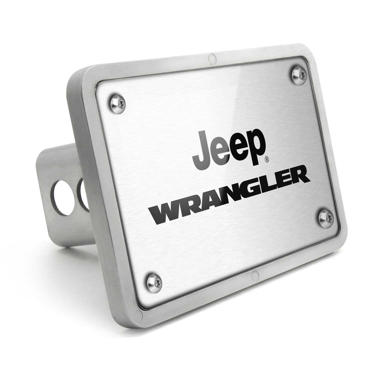 Jeep Wrangler UV Graphic Brushed Silver Billet Aluminum 2 inch Tow Hitch Cover