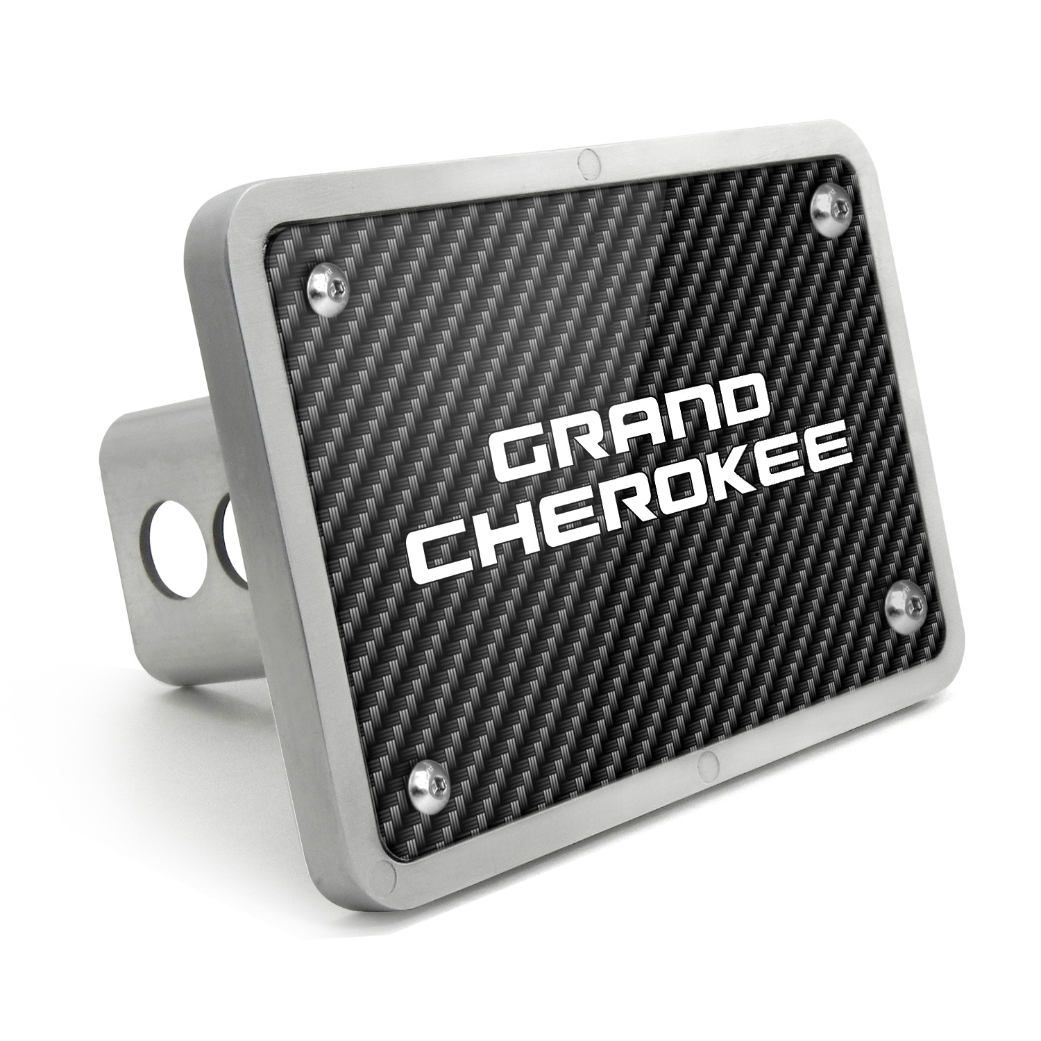 Jeep Grand Cherokee UV Graphic Carbon Fiber Texture Billet Aluminum 2 inch Tow Hitch Cover