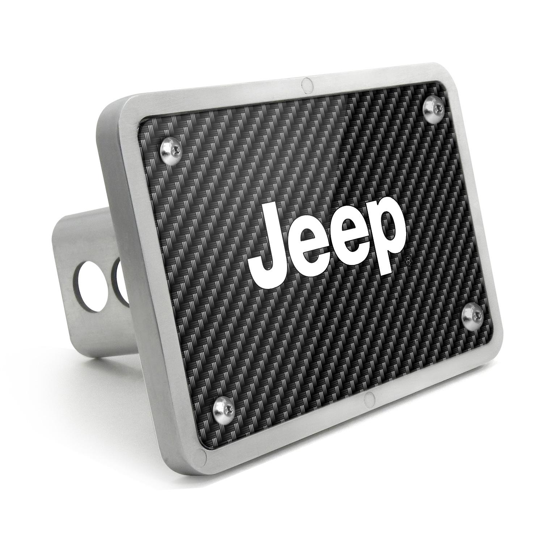 Jeep UV Graphic Carbon Fiber Texture Billet Aluminum 2 inch Tow Hitch Cover