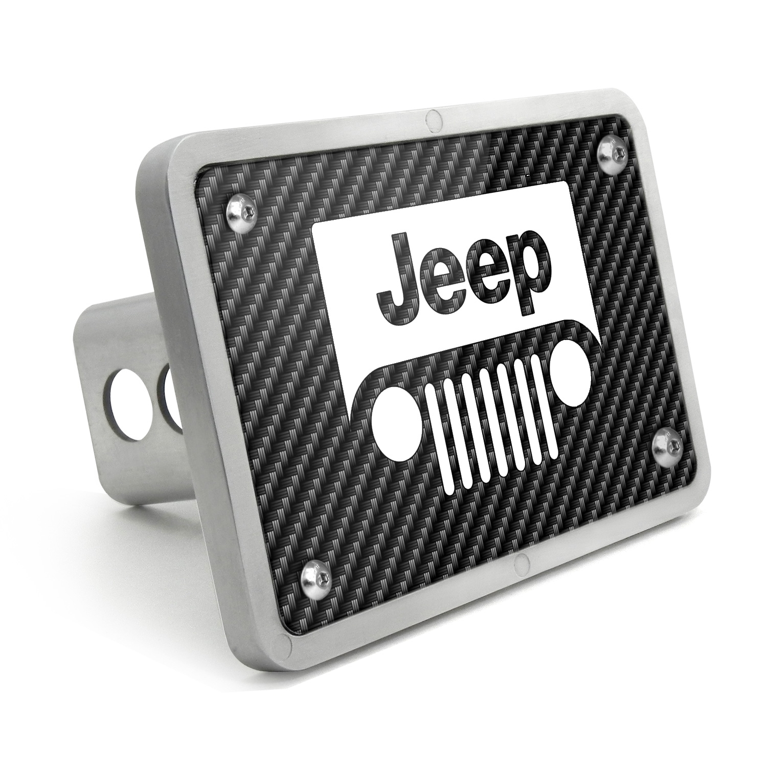 Jeep Grill UV Graphic Carbon Fiber Texture Billet Aluminum 2 inch Tow Hitch Cover