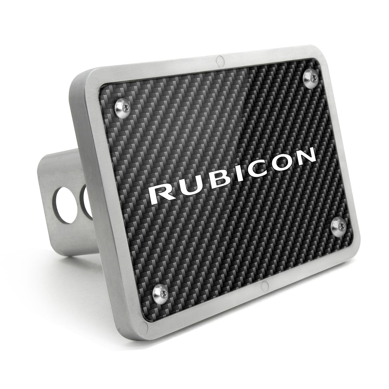Jeep Rubicon UV Graphic Carbon Fiber Texture Billet Aluminum 2 inch Tow Hitch Cover