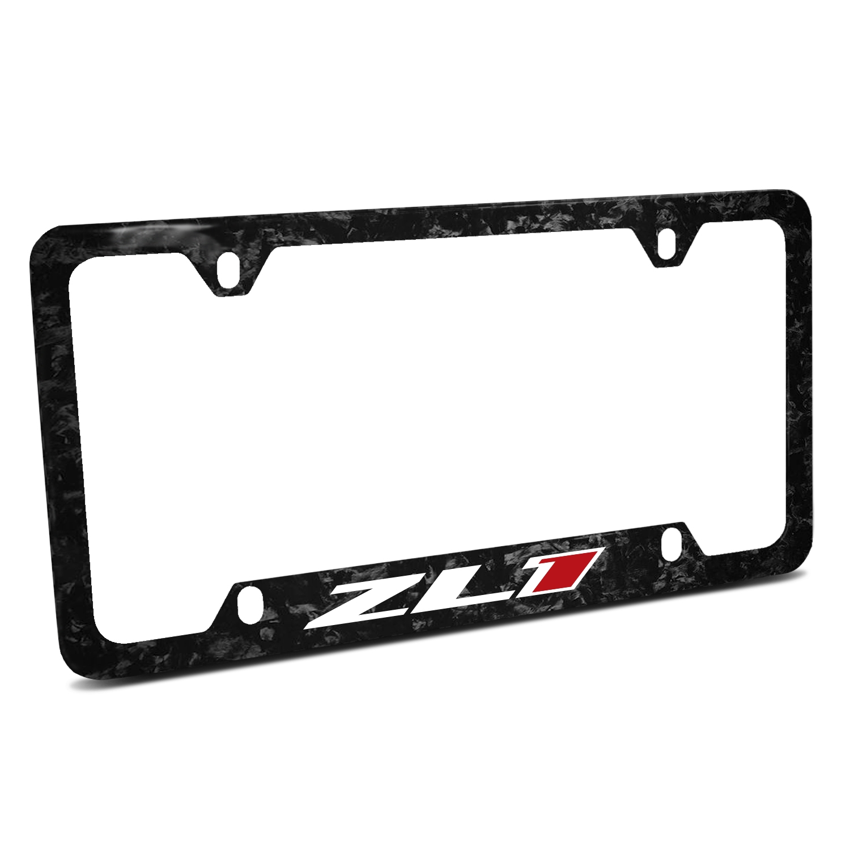 Chevrolet Camaro ZL1 Logo Real Black Forged Carbon Fiber 50 States License Plate Frame