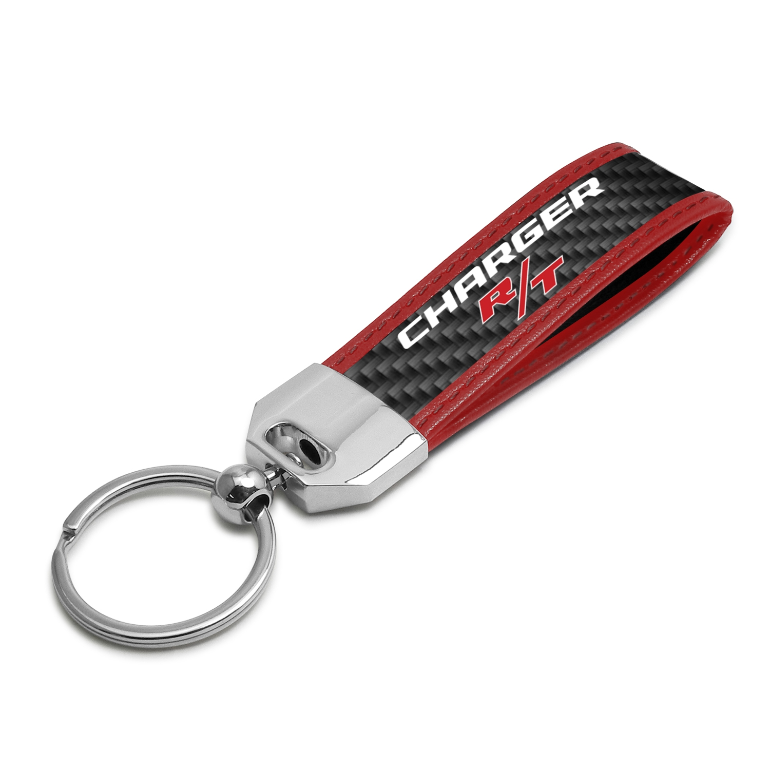 Dodge Charger R/T Real Carbon Fiber Strap Key Chain with Red Edge