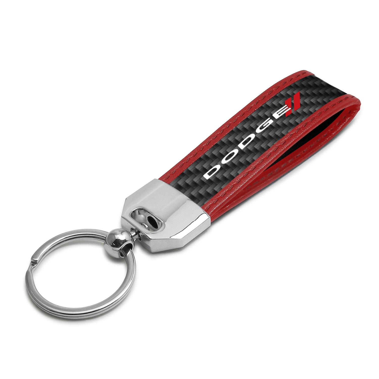 Dodge Real Carbon Fiber Strap Key Chain with Red Edge