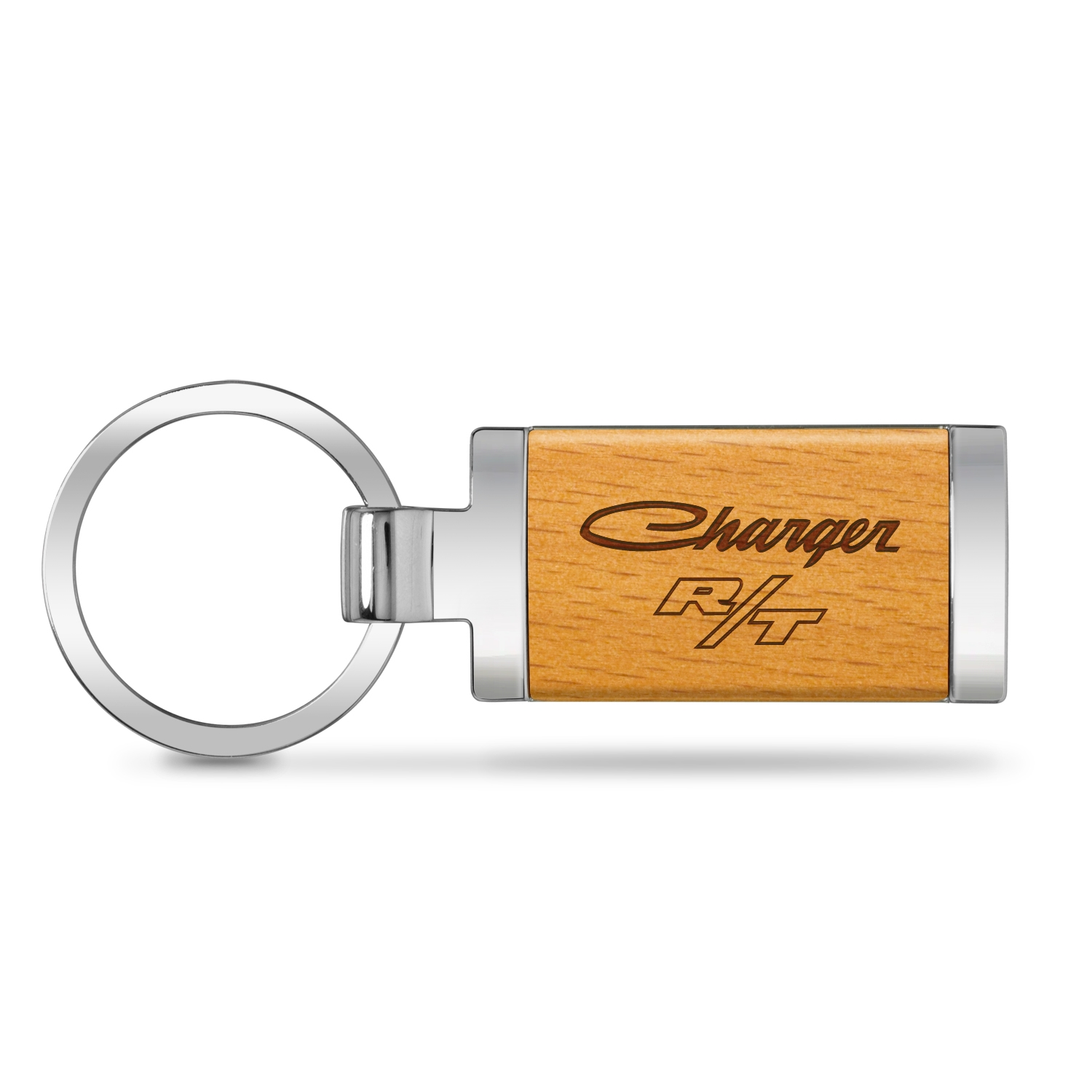 Dodge Charger R/T Classic Laser Engraved Maple Wood Chrome Metal Trim Key Chain