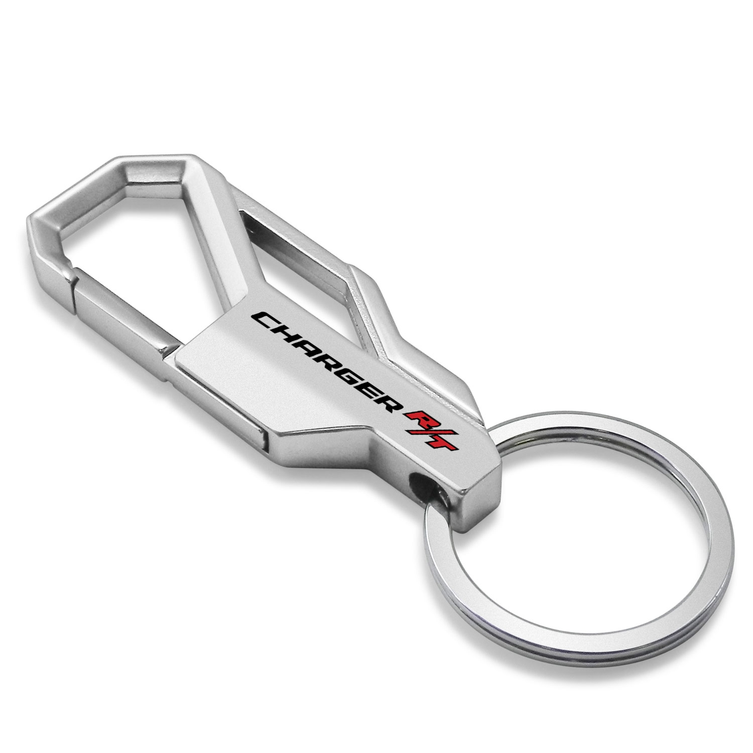 Dodge Charger R/T Silver Snap Hook Metal Key Chain