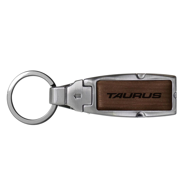Ford Taurus Brown Leather Detachable Ring Black Metal Key Chain