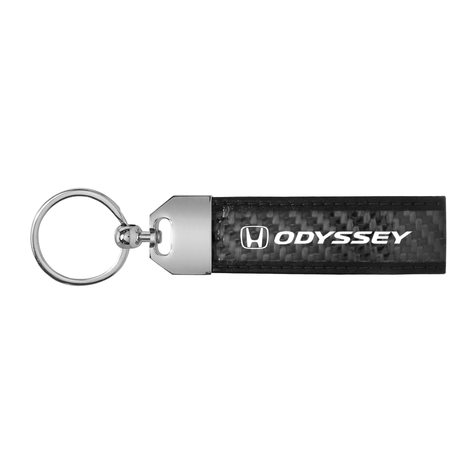 Honda Odyssey Real Carbon Fiber Leather Key Chain with Black Stitching