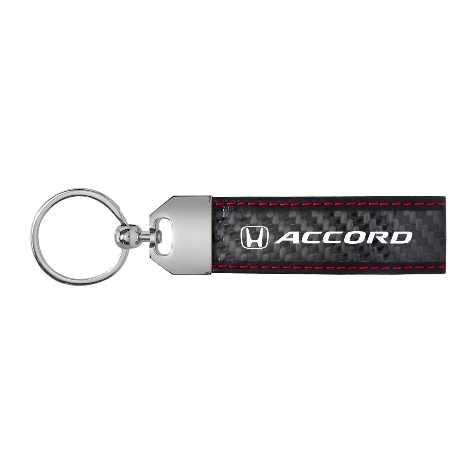Honda Accord Real Carbon Fiber Leather Key Chain with Red Stitching
