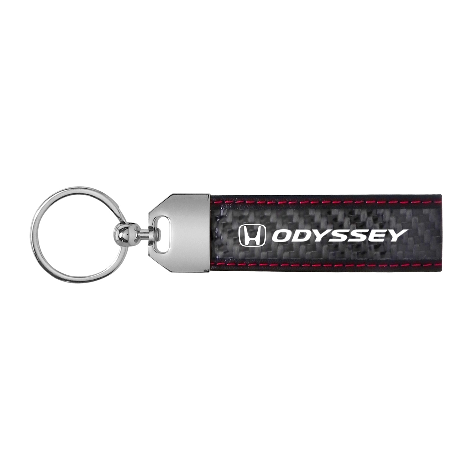 Honda Odyssey Real Carbon Fiber Leather Key Chain with Red Stitching