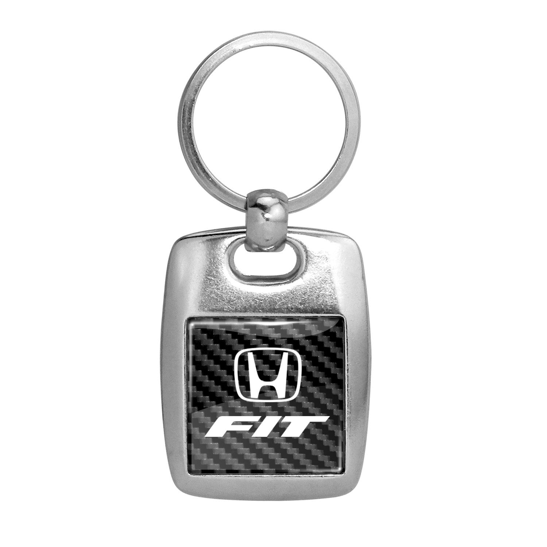 Honda Fit on Carbon Fiber Backing Brush Metal Key Chain
