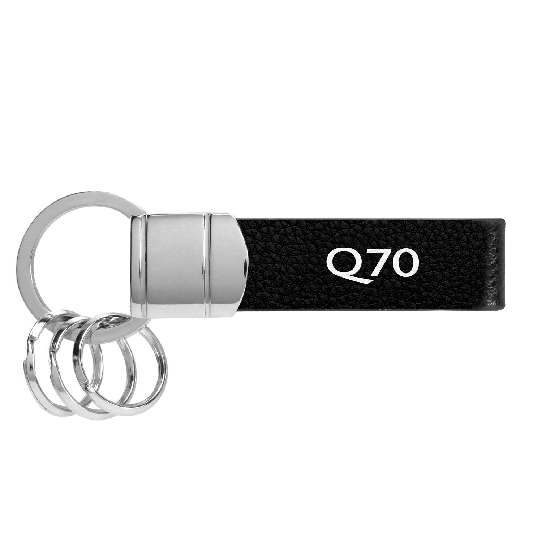 Infiniti Q70 Black Leather Stripe Round Hook Metal Key Chain