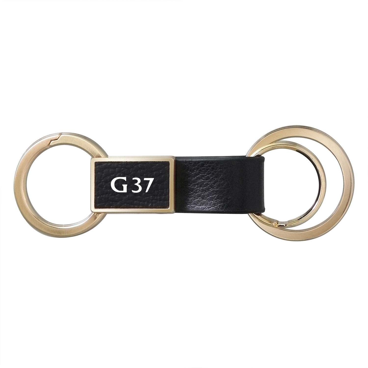 Infiniti G37 Round Hook Leather Strip Double Ring Golden Metal Key Chain