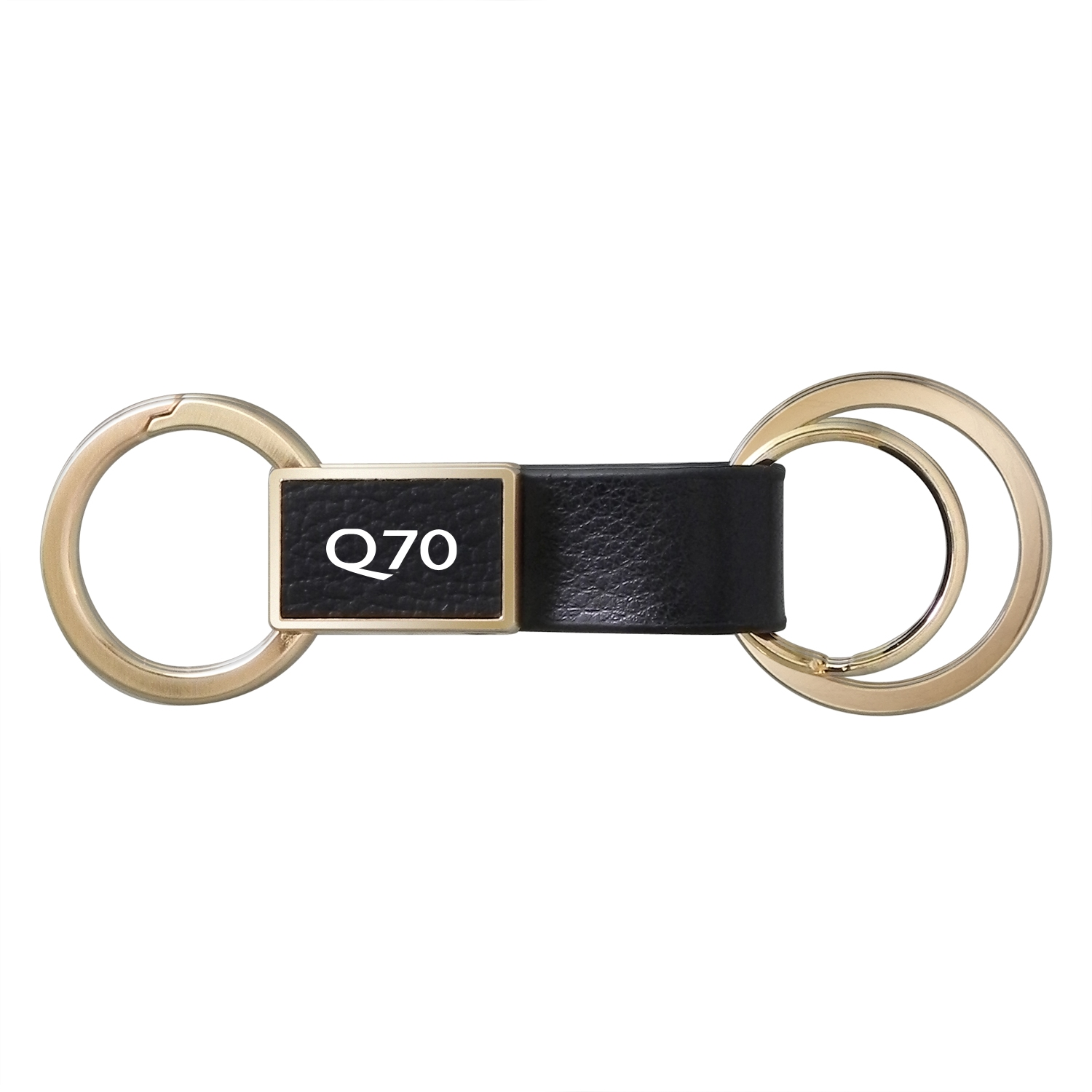 Infiniti Q70 Round Hook Leather Strip Double Ring Golden Metal Key Chain