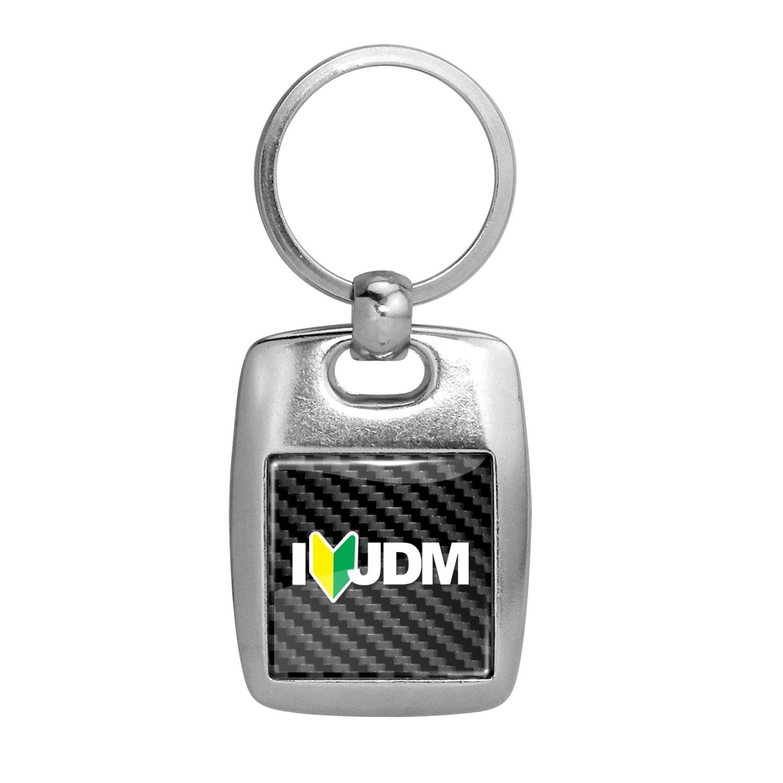 JDM I-Love-JDM Black Carbon Fiber Backing Brush Metal Key Chain