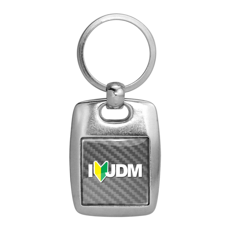 JDM I-Love-JDM Silver Carbon Fiber Backing Brush Metal Key Chain
