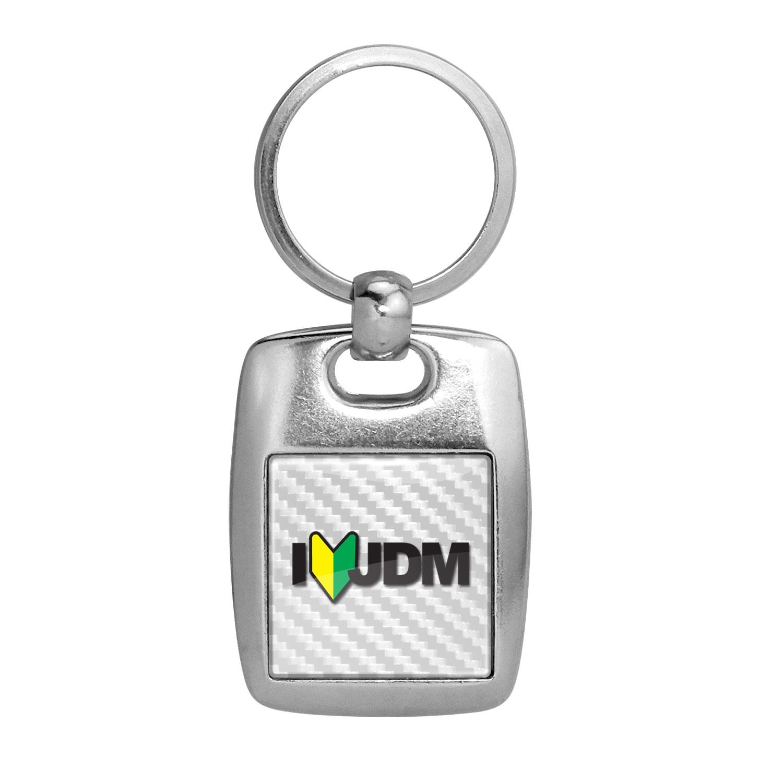 JDM I-Love-JDM White Carbon Fiber Backing Brush Metal Key Chain