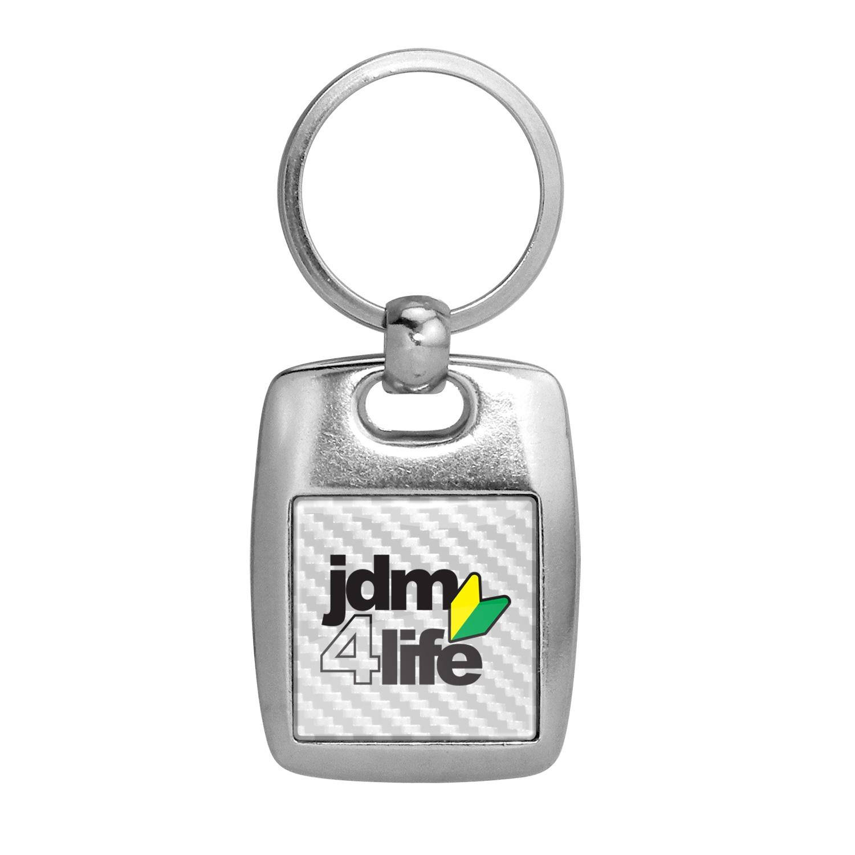 JDM JDM-for-Life White Carbon Fiber Backing Brush Metal Key Chain