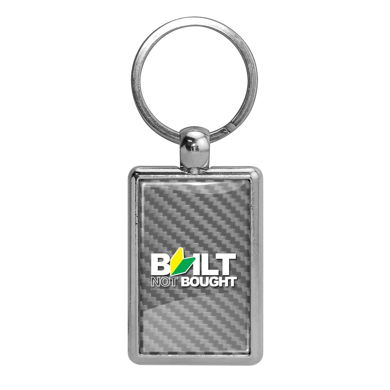 JDM Built-Not-Bought Silver Carbon Fiber Backing Brush Rectangle Metal Key Chain