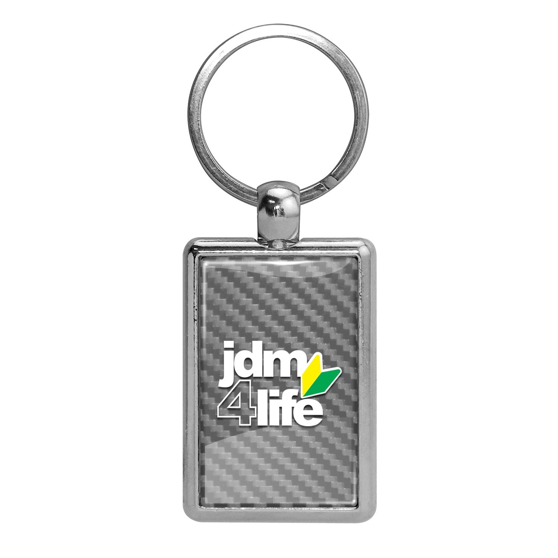 JDM JDM-for-Life Silver Carbon Fiber Backing Brush Rectangle Metal Key Chain