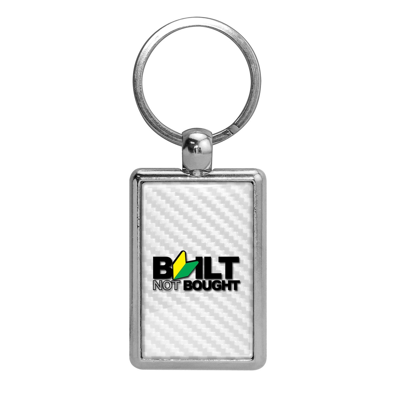 JDM Built-Not-Bought White Carbon Fiber Backing Brush Rectangle Metal Key Chain