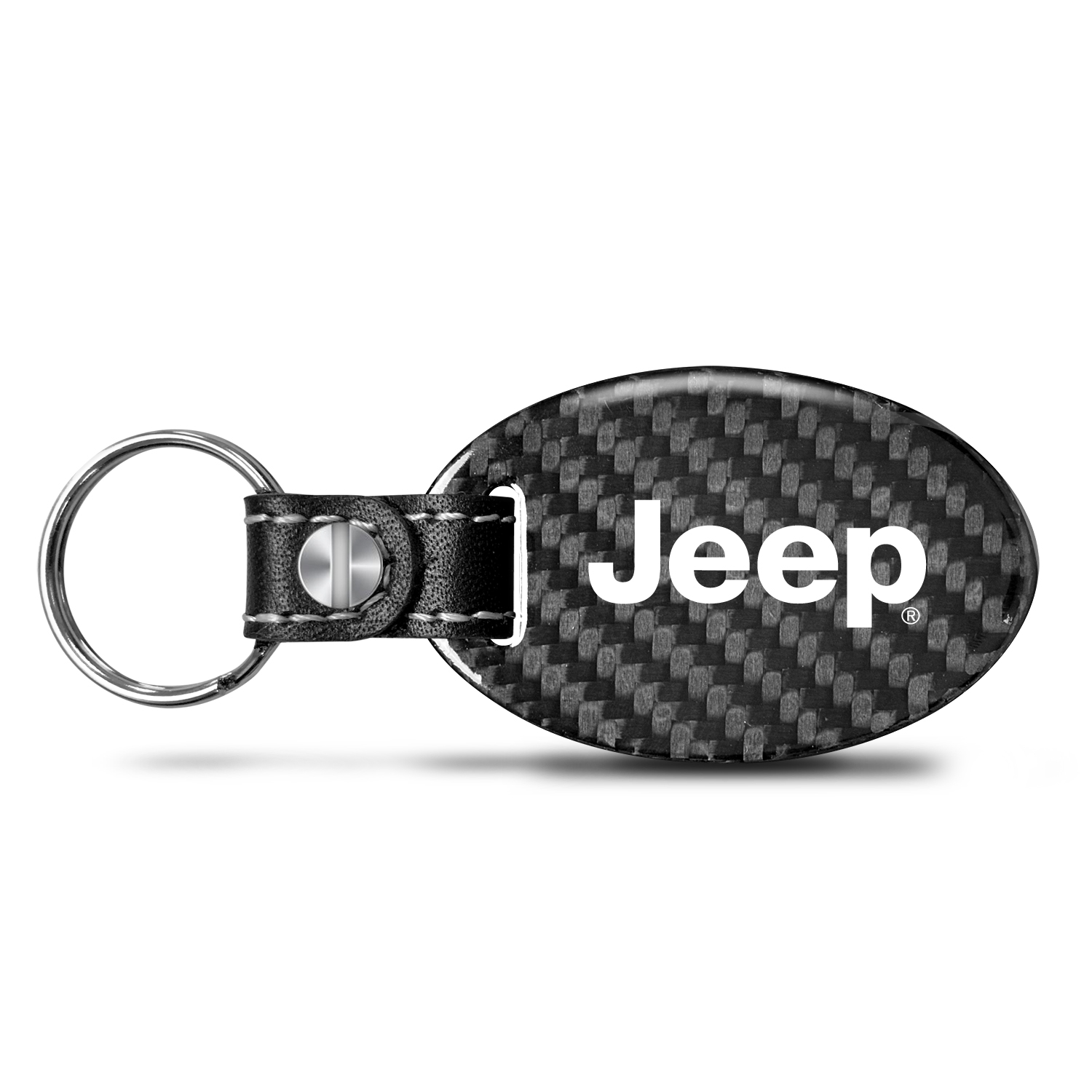 Jeep Real Carbon Fiber Large Oval Shape with Black Leather Strap Key Chain