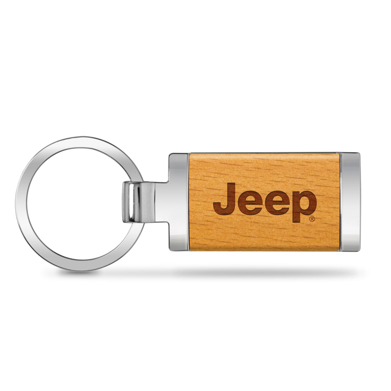 Jeep Laser Engraved Maple Wood Chrome Metal Trim Key Chain