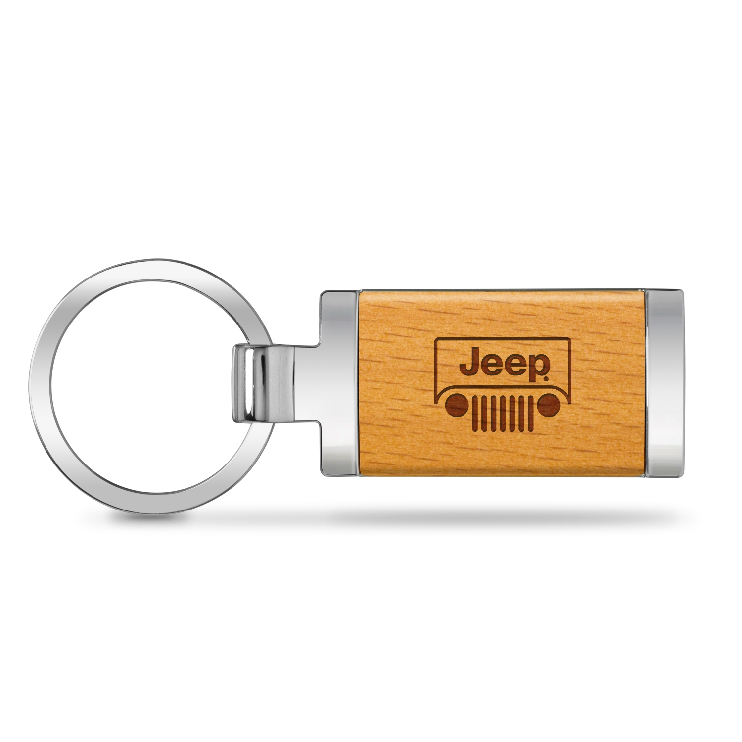 Jeep Grill Laser Engraved Maple Wood Chrome Metal Trim Key Chain