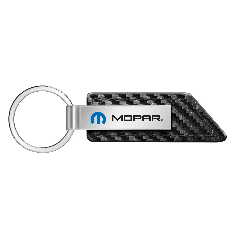 Mopar Carbon Fiber Texture Black Leather Strap Key Chain