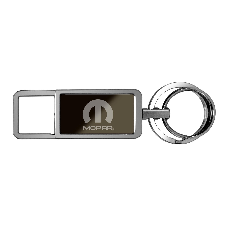 Mopar Logo Black Pull Top Rectangular Metal Key Chain