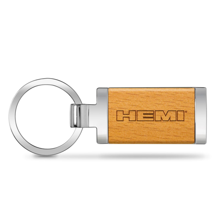 HEMI Logo Laser Engraved Maple Wood Chrome Metal Trim Key Chain