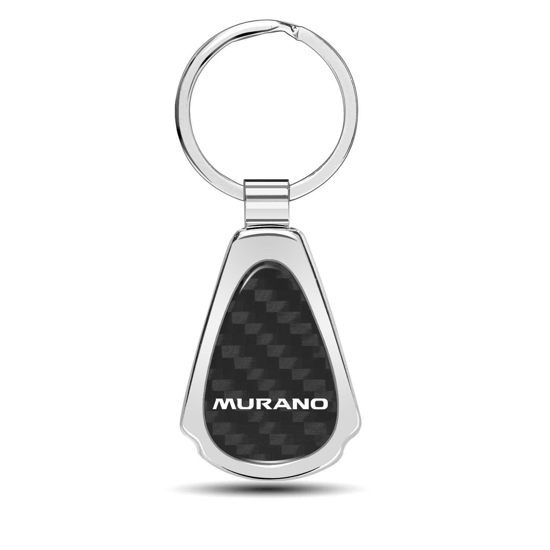 Nissan Murano Real Black Carbon Fiber Chrome Metal Teardrop Key Chain