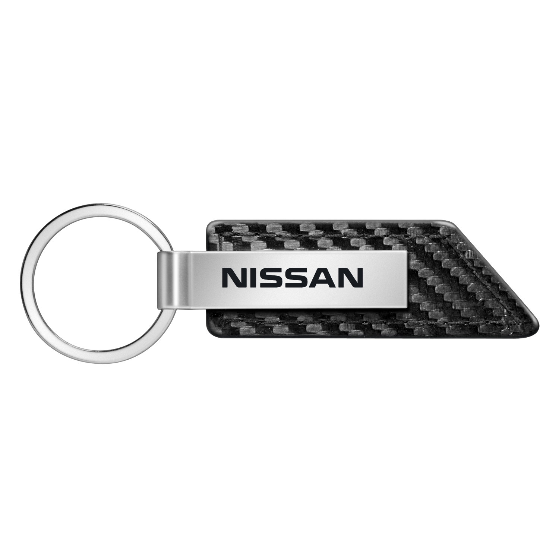 Nissan Name Carbon Fiber Texture Black Leather Strap Key Chain