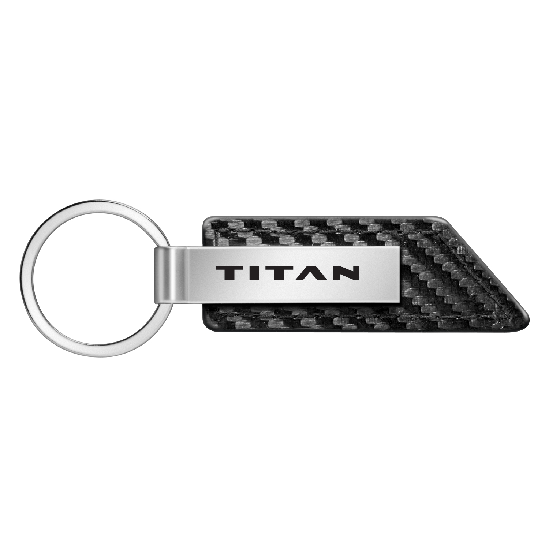 Nissan Titan Logo Carbon Fiber Texture Black Leather Strap Key Chain