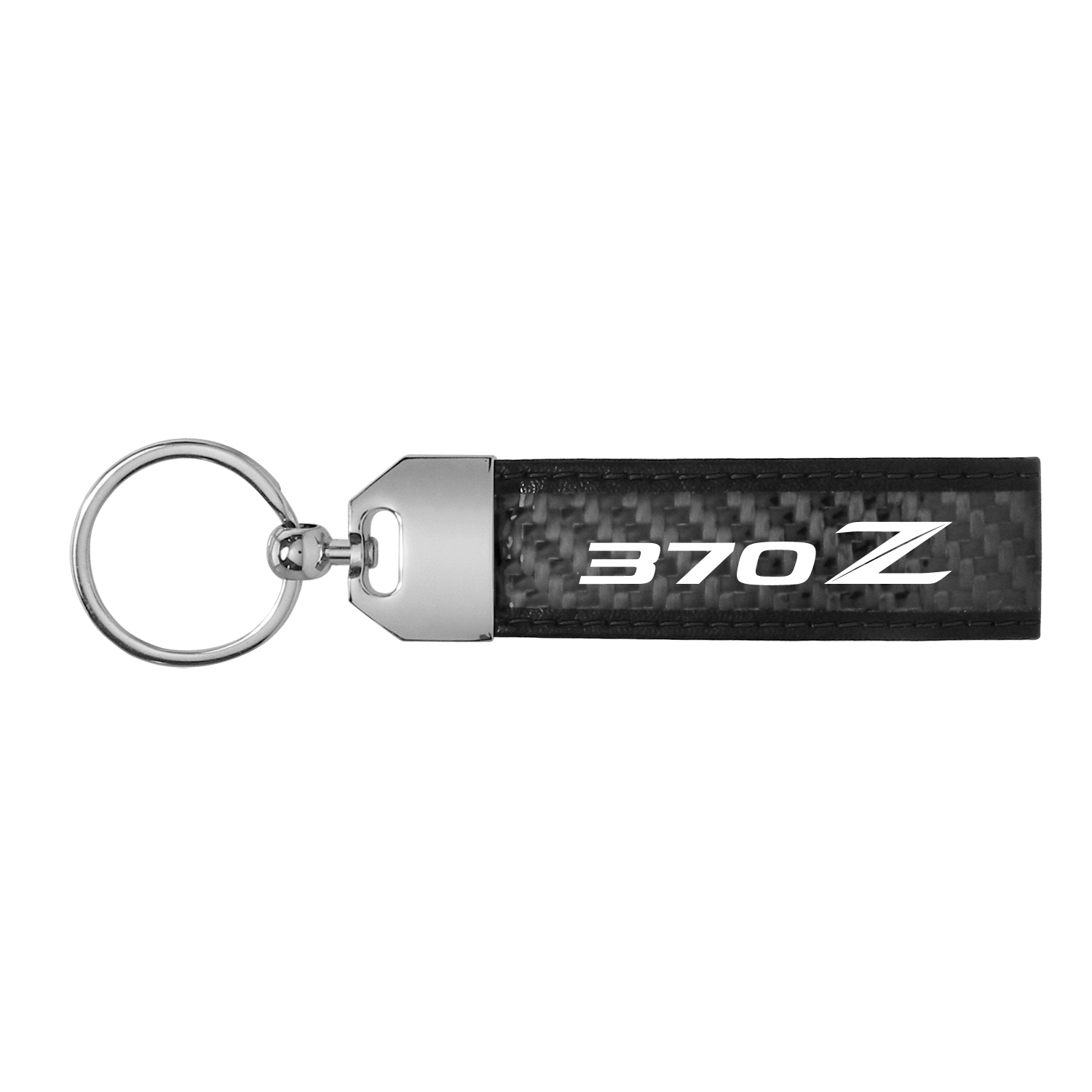 Nissan 370Z Real Carbon Fiber Loop Key Chain with Black Stitching