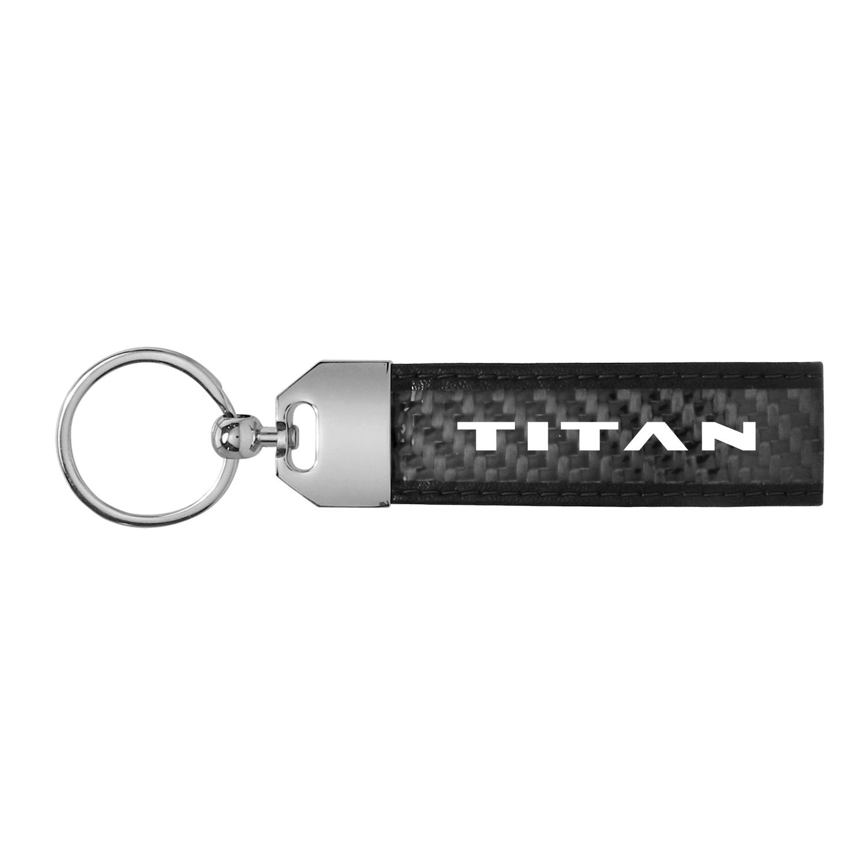 Nissan Titan Logo Real Carbon Fiber Loop Key Chain with Black Stitching