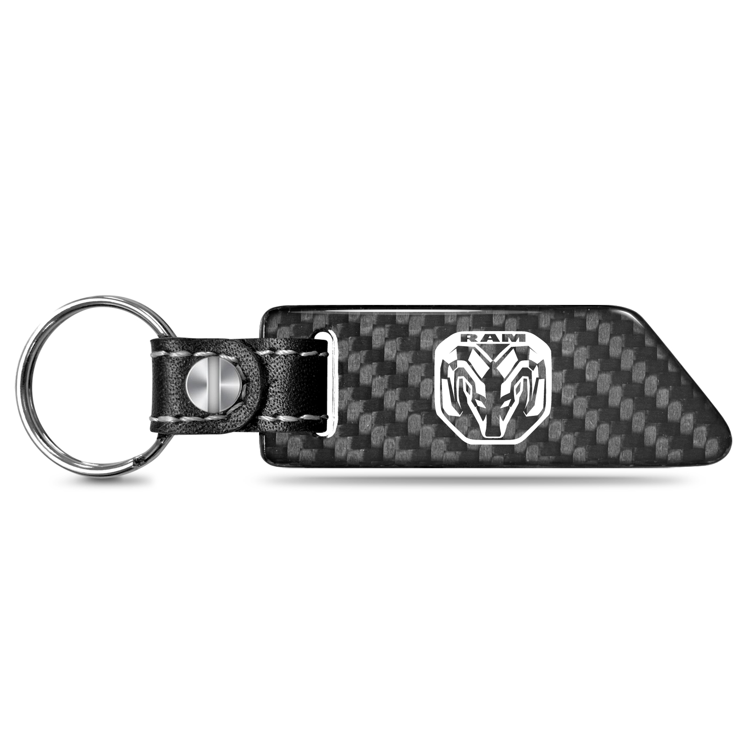 RAM 2019 Real Carbon Fiber Blade Style with Black Leather Strap Key Chain
