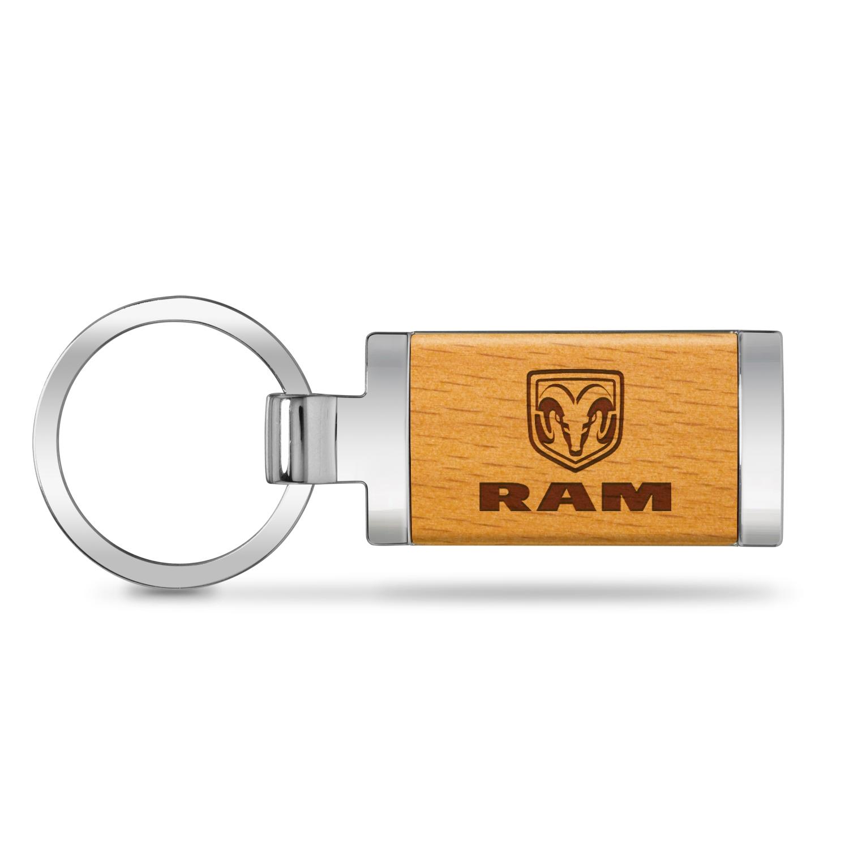 RAM Laser Engraved Maple Wood Chrome Metal Trim Key Chain