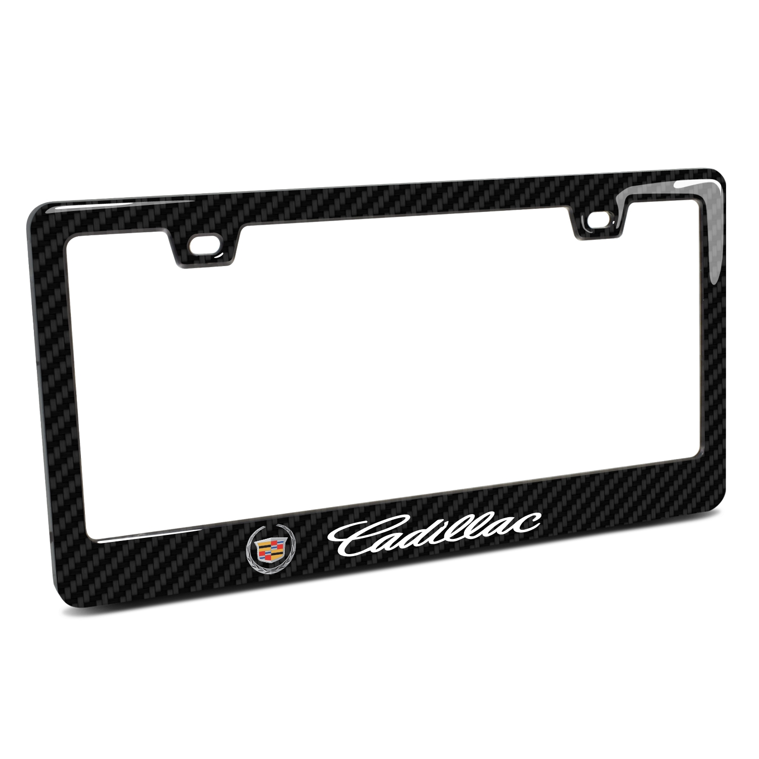 Cadillac Logo in 3D on Real 3K Carbon Fiber Finish ABS Plastic License Plate Frame